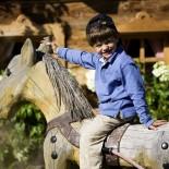 Der Unterschwarzachhof, Kind auf Holzpferd