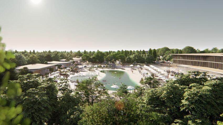 Ansicht Clubhaus und Pool des Lino delle Fate Resorts