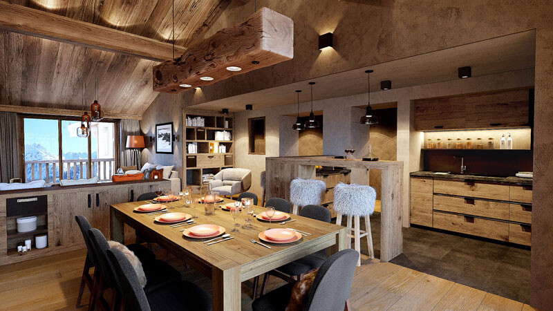 Salon, Luxus-Appartment, Lodge L'Avancher, Val d'Isère