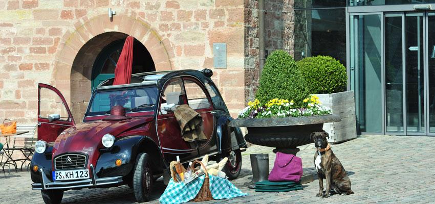 Kloster_Hornbach_Miet-Ente_mit_Hund_©_Hotel_Kloster_Hornbach