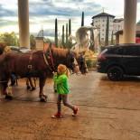 Kutsche vor dem Hotel Colosseo, Europapark Rust