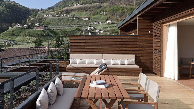 Suite mit Dachterrasse im Schwarzschmied Hotel in Lana
