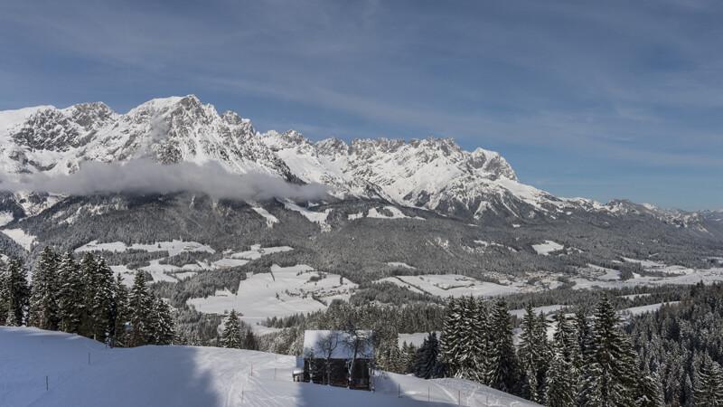Panoramablick von der Skipiste auf den Wilden Kaiser Bildnachweis: TVB Wilder Kaiser/Reiter/von Felbert
