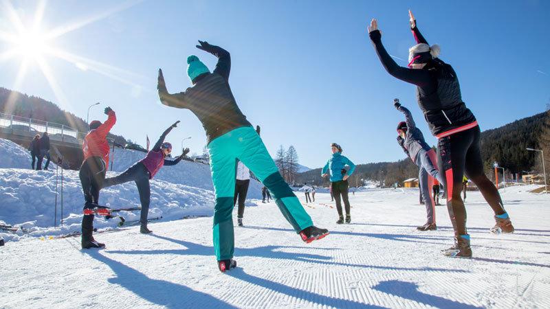 Women's Langlauf Camp Aufwaermen